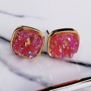 Jewelry - Rose Pink Iridescent Square Druzy Stud Earrings
